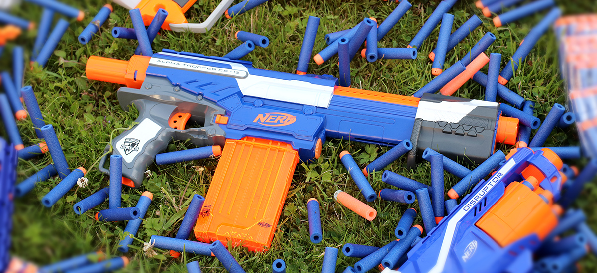 Nerf Gun with Ammo Blurred Outside