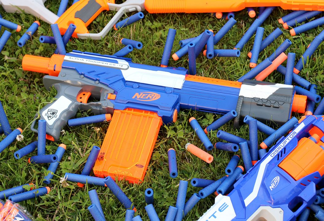 Nerf Guns and Ammunition on Grass