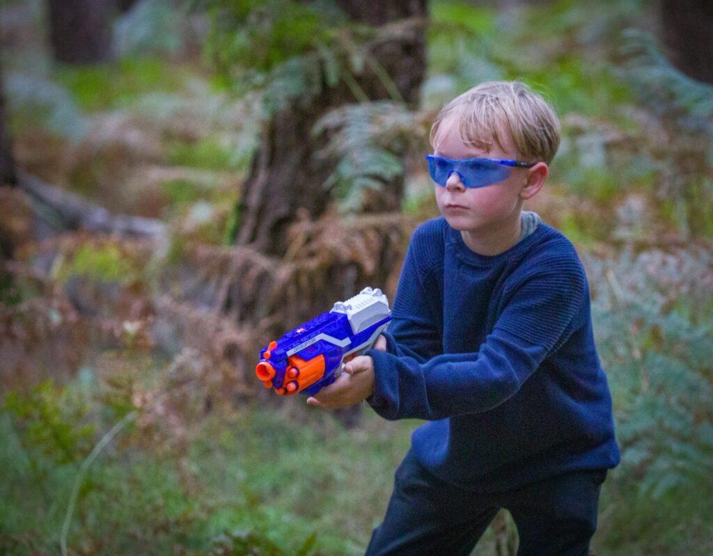 Nerf Wars Boy in Blue
